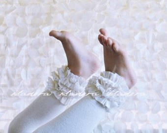 White  Cotton Ruffle Footless tights