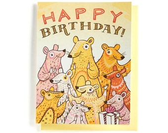Birthday Card: Mouse party, clapping happy mice! Illustrated and hand-lettered in pink, yellow and orange