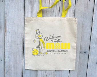 24 Custom Wedding Canvas Totes with Colored Handles - Eco-Friendly Natural Cotton Canvas
