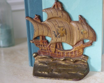 Vintage Cast Iron Pirate Clipper Ship Bookends