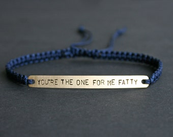 You're The One For Me Fatty Brass or Sterling Silver Macramé Bracelet, Choice Of Colours Available