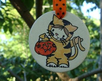 Hand Painted, Halloween Cute Costumed Cat Ornament, Ceramic