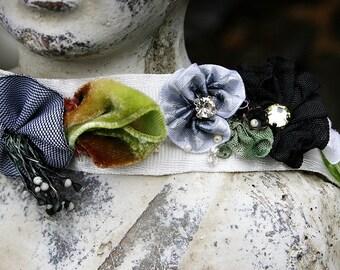 Ribbon Work Choker Ribbonwork Flowers Jeweled and Beaded Choker Art to Wear - Black, Gray and Velvety Greens. Boho Chic