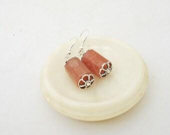 Sunstone Earrings, Simple Earrings, Pink Earrings, Gemstone Earrings, Chunky Earrings, UK Seller