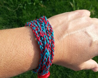 Red and Teal Crochet 3 Strand Wrap Bracelet