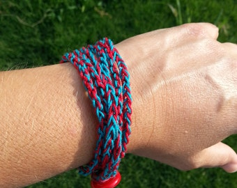 SALE! Red and Teal Crochet 3 Strand Wrap Bracelet