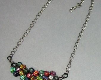 Adjustable Wire Crochet Necklace of Multicolor Czech Glass