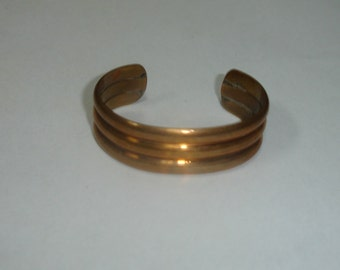 Vintage Art Deco Bronze Ribbed Adjustable Cuff Bracelet