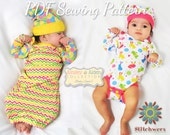 Baby Bodysuit, Tee & Gown Sewing Pattern, S115 Bitty Beetle Baby Clothes Sewing Pattern, Baby Clothes PDF Sewing Pattern, Preemie-12M