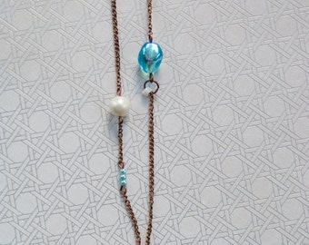 Blue Shell and Copper Necklace