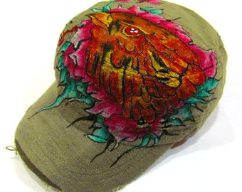 Hand Painted Tattoo Eagle eye Military Khaki Vintage Hat