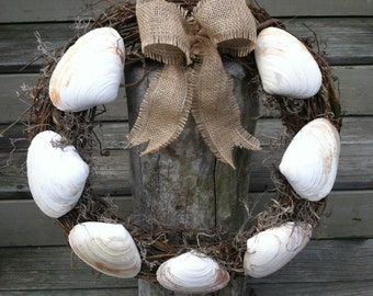 Coastal Clam Shell Grapevine Wreath