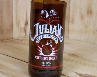 Upcycled Julian Hard Cider Cherry Bomb pint glass made from a repurposed bottle