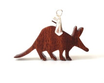 Aardvark Necklace Wood African Animal Pendant Jewelry Scroll Saw Hand Cut Mahogany