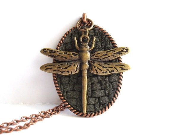 Dragonfly Necklace Mixed Metal Rustic Woodland Nature Jewelry Leather Copper Bronze