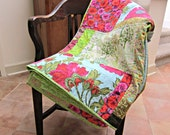 Modern Quilt, Poppy Quilt, Poppy decor, Throw Quilt, Patchwork Quilt, Batik Quilt, Lap Quilt, Sofa Quilt, Pink and Green Quilt, Poppies