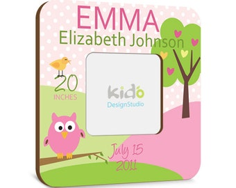 Personalized Baby Picture Frame with Birth Announcement, Pink and Green Photo Frame, Owl Baby Gift