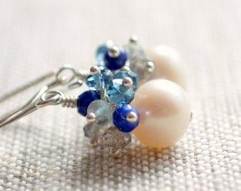 Cluster Earrings, Labradorite London Blue Topaz Aquamarine Lapis Lazuli Gemstones, Drop Pearl, Sterling Silver Jewelry, Free Shipping