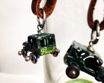 Steampunk Jeep and Cut Leather  Dangle Earrings