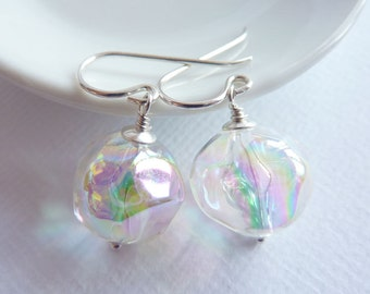 Clear Earrings, Sterling Silver, Soap Bubbles, Silver Earrings, Gift for Her, Made in the UK