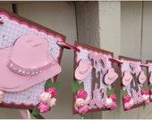 Name Banner custom handmade - G0 GREEN - Happy Birthday Bridal Shower Baby Shower School Banner  Pink Rhinestone Cowgirl