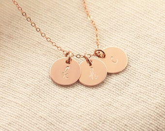 Rose Gold Initial Necklace, Personalized Necklace, Three Initial Charms, Mother's Necklace, Rose Gold Filled, Dainty Necklace, Hand Stamped