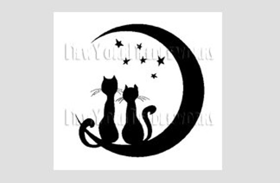 Cats Cross Stitch, Cats Silhouette, Cats Pattern, Cats, Cross Stitch, Moon, Silhouette, Cats on Moon by NewYorkNeedleworks on Etsy