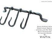 Hand Forged Iron Tradition Design Pot or Utensil Rack with Twists and 3 Attached Hooks by VinTin