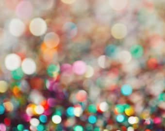"Colorful Confetti Photography - Bokeh Photography - Colorful Home Decor - Hipster Decor - Multicolor Wall Art - Fine Art Photo - ""PARTAY"""
