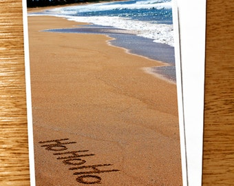 "CHRISTMAS CARD Ho Ho Ho Original 6"" x 4"" Photo Mounted on Nice Thick Card Stock. Ho Ho Ho in Sand, Beach Christmas Card"