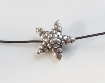 Oxidized Sterling silver Starfish spacer, starfish bead (14mm)