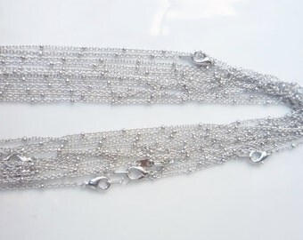 "2 pcs 20"" inches Rhodium silver finish  cable  link  beaded necklace chain, finished, silver color"