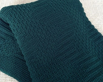 "Afghan, Throw Blanket, Knitted ""Hunter Green"""