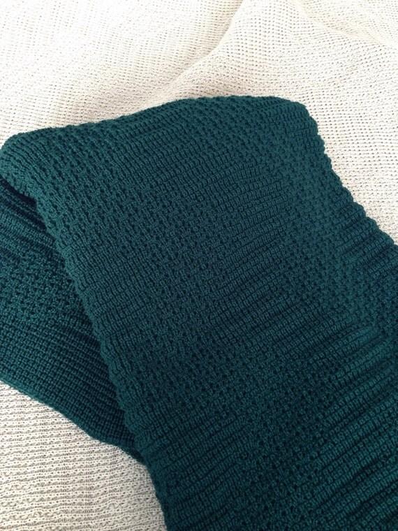 "Afghan, Throw Blanket, Knitted ""Hunter Green"""