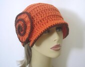 Cloche Hat in Orange and Brown, Crochet Flower Hat