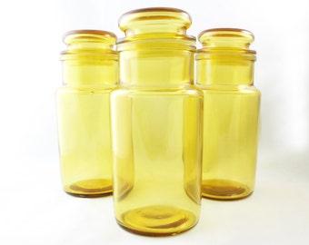 Vintage Apothecary Storage Jar - Orange/Golden/Yellow Glass Mid Century Baking House Ware