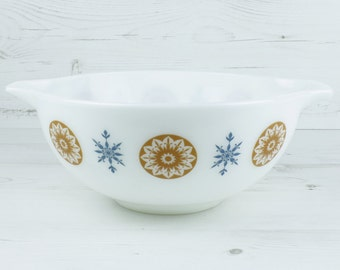 Vintage Pyrex Mixing Bowl - JAJ Star Cinderella Orange Brown Blue Milk Glass Large