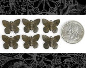 Rusty Black Finished Brass Butterfly Charms  RB-C107