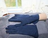 Gloves Above the Wrist Shiny Nylon Dark Blue