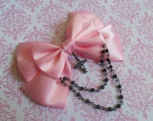 Hair clip or Brooch pink bow with black cross and black beads pastel goth