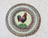 Miniature Braided Look Round Rug With Rooster 1:12 Scale
