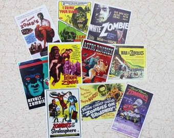 Miniature Vintage Zombie Movie Poster Set of 10  in One Twelfth Scale