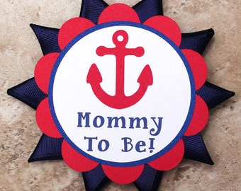Anchor ocean theme button pin for Baby Shower or Birthday Party