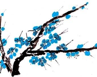 Plum Blossom - Medium Blue - Notecard, set of 5