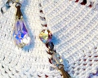 Vintage CRYSTAL & RHINESTONE Earrings, Exquisite Faceted Crystal AB Pendant Style Dangles, Perfect Clip-Ons 4 Discerning Collectors!