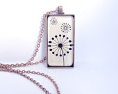 CLOSING SALE. Wish pendant. Dandelion seed head  Antiqued copper. Large rectangle . Black image. Stylish