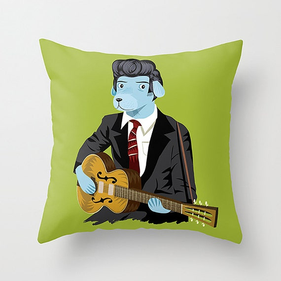 "The Rockabilly Dog - Cushion Cover / Throw Pillow (16"" x 16"") by Oliver Lake"