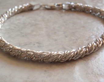 Twisted Chain Bracelet Sterling Silver Italian 7-1/2 Inches Vintage V0298