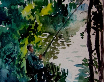 Fisherman, 18 x 19 cm.Miniature. Original watercolor painting