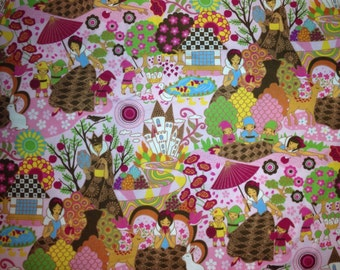 Kawaii Cotton Fabric Snow White Pink Colorway